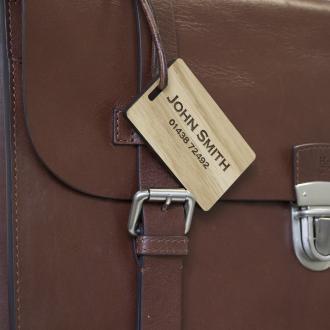 solid oak engraved personalised luggage tag