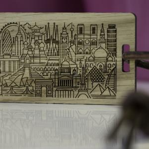 solid oak engraved personalised luggage tag