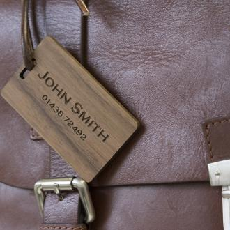 walnut laser engraved luggage tag