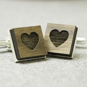 secret heart valentines cufflinks