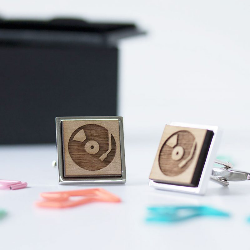 retro record deck cufflinks