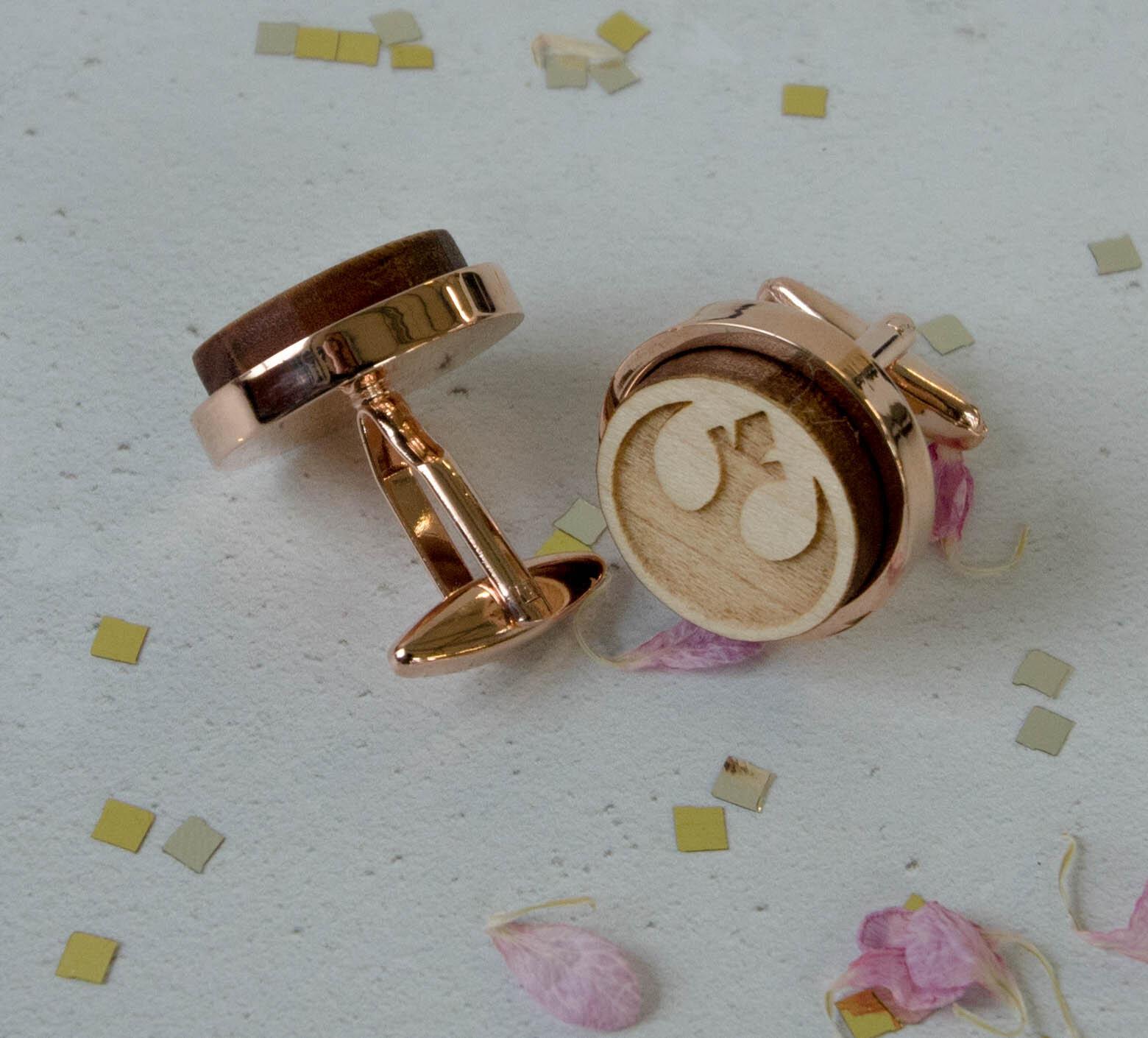 Star Wars Alliance Starbird Rose GoldMaple Cufflinks Rocketboy Gifts