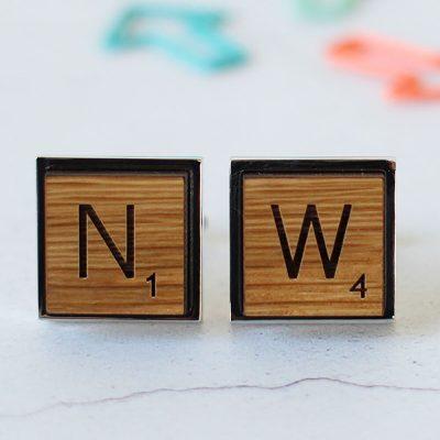 Scrabble inspired oak cufflinks
