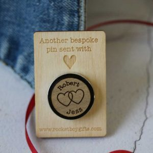 linked hearts and names pin badge