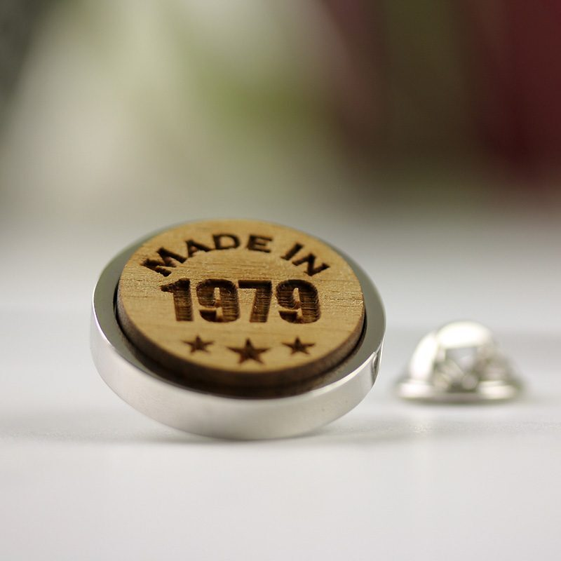 Year of Birth Round Lapel Pin Badge