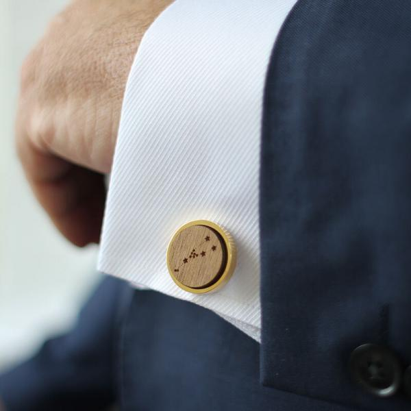gold constellation round cufflinks