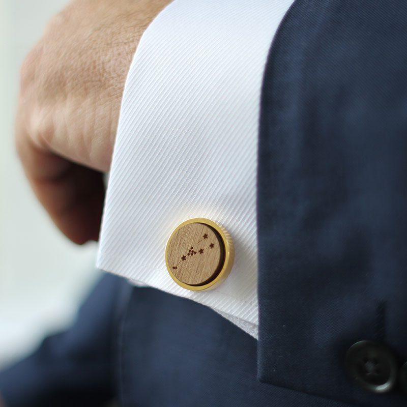 gold constellation round cufflinks