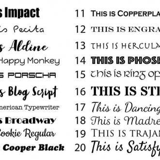 a . selection of standard fonts