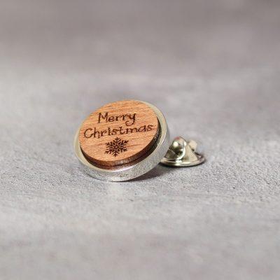 merry xmas walnut lapel pin