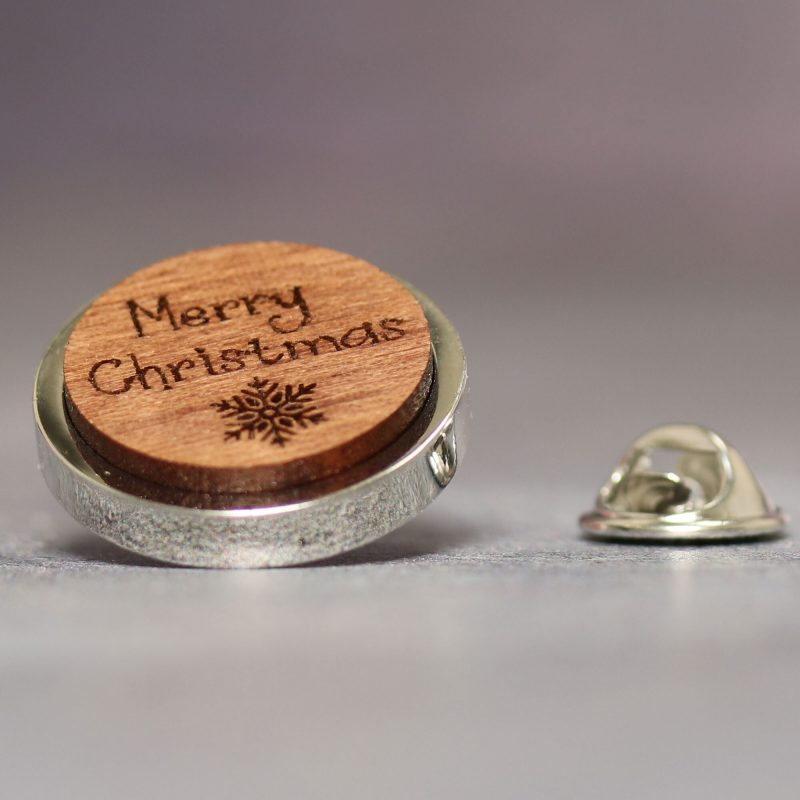 merry xmas walnut lapel pin