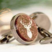 red stag round christmas cufflinks