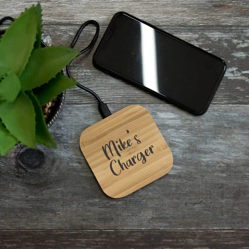 personalised bamboo wireless phone charger