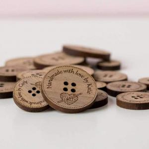 crocheters engraved wooden buttons