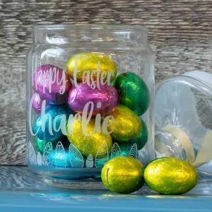 a jar full of easter eggs